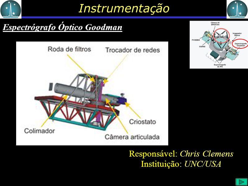 Instrumentação Espectrógrafo Óptico Goodman Responsável: Chris Clemens Instituição: UNC/USA