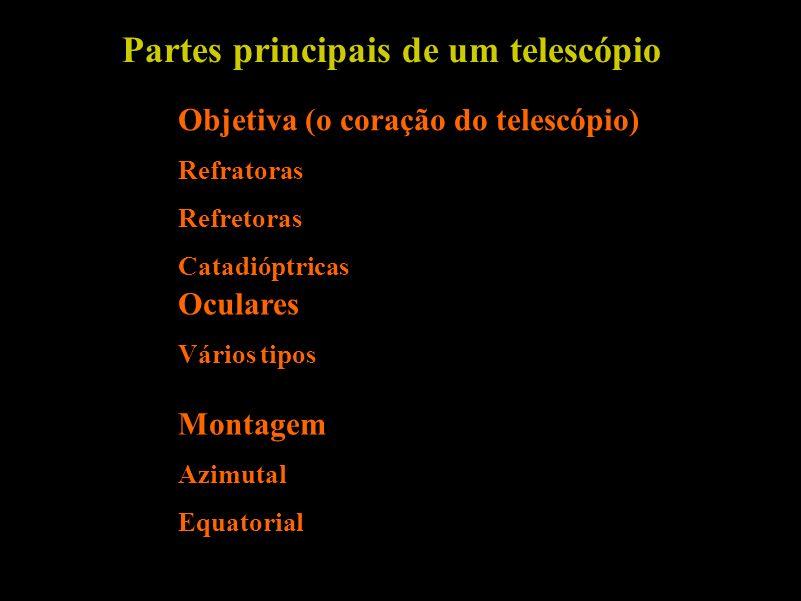 Partes principais de um telescópio Objetiva (o coração do telescópio) Refratoras Refretoras Catadióptricas Oculares Vários tipos Montagem Azimutal Equ