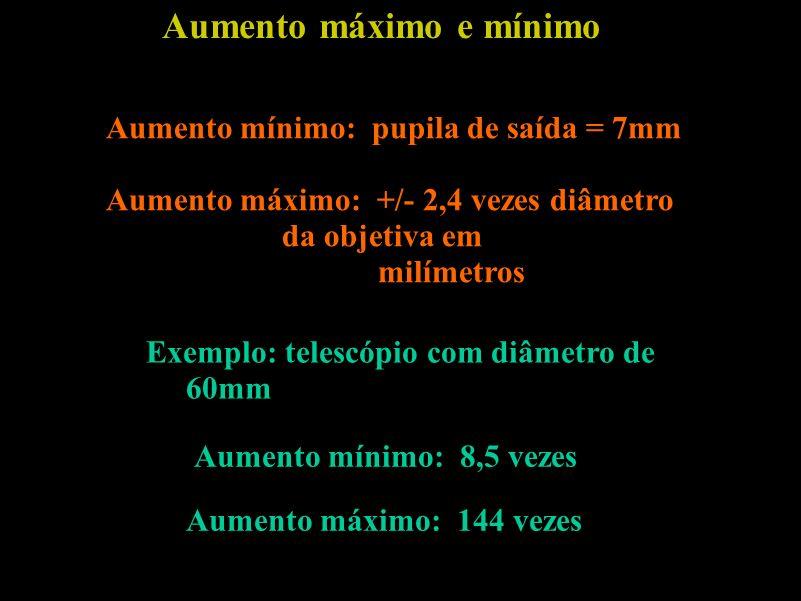 Aumento máximo e mínimo Aumento mínimo: pupila de saída = 7mm Aumento máximo: +/- 2,4 vezes diâmetro da objetiva em milímetros Exemplo: telescópio com