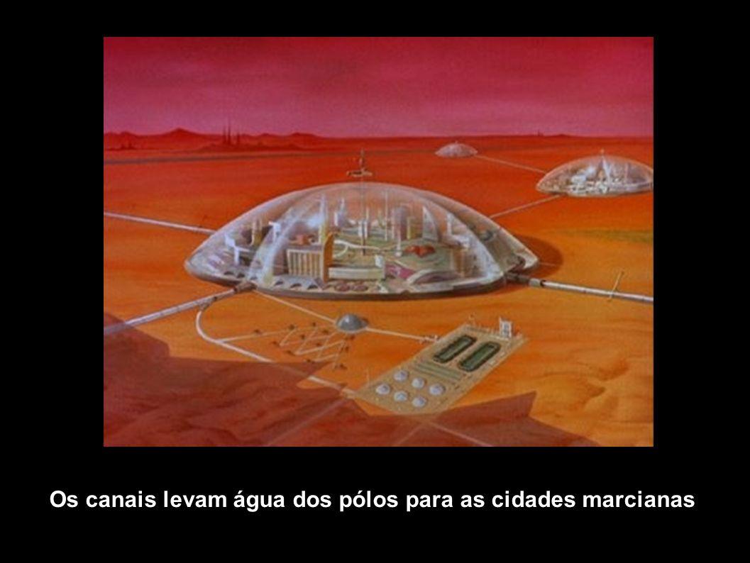 Os canais levam água dos pólos para as cidades marcianas