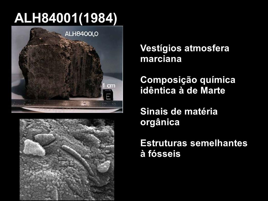 ALH84001(1984) Vestígios atmosfera marciana Composição química idêntica à de Marte Sinais de matéria orgânica Estruturas semelhantes à fósseis