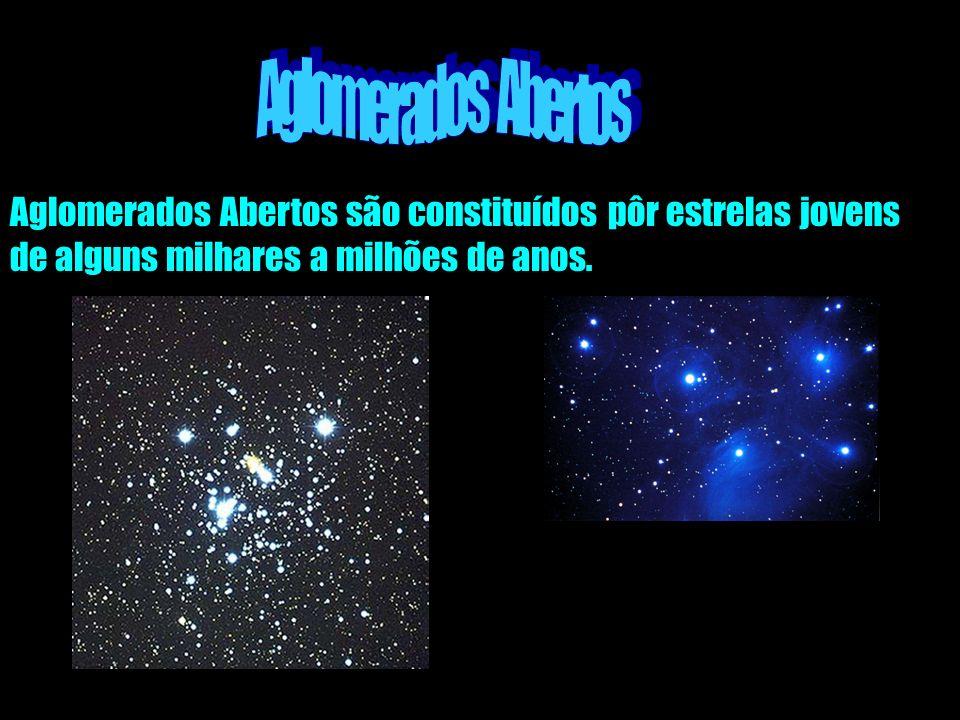 Aglomerados Abertos são constituídos pôr estrelas jovens de alguns milhares a milhões de anos.