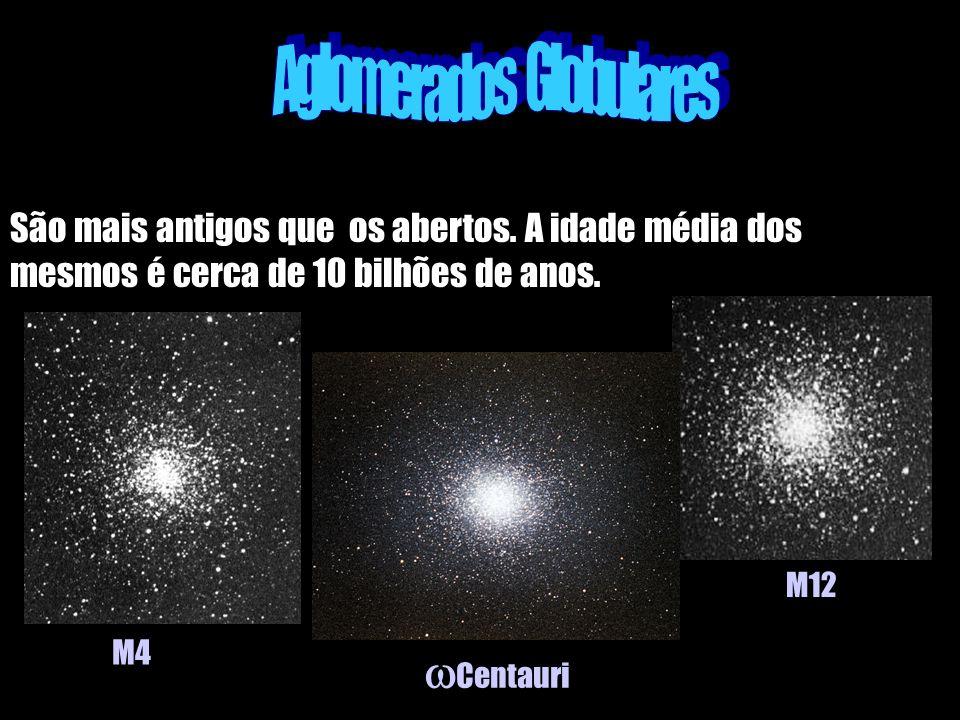 São mais antigos que os abertos. A idade média dos mesmos é cerca de 10 bilhões de anos. M4 Centauri M12
