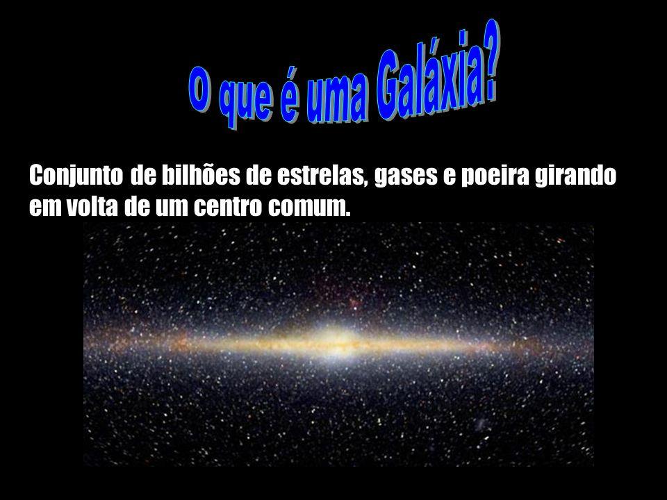 O que é uma Galáxia? Conjunto de bilhões de estrelas, gases e poeira girando em volta de um centro comum.