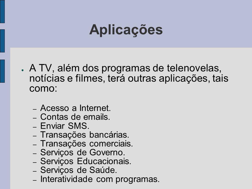 Aplicações A TV, além dos programas de telenovelas, notícias e filmes, terá outras aplicações, tais como: – Acesso a Internet. – Contas de emails. – E