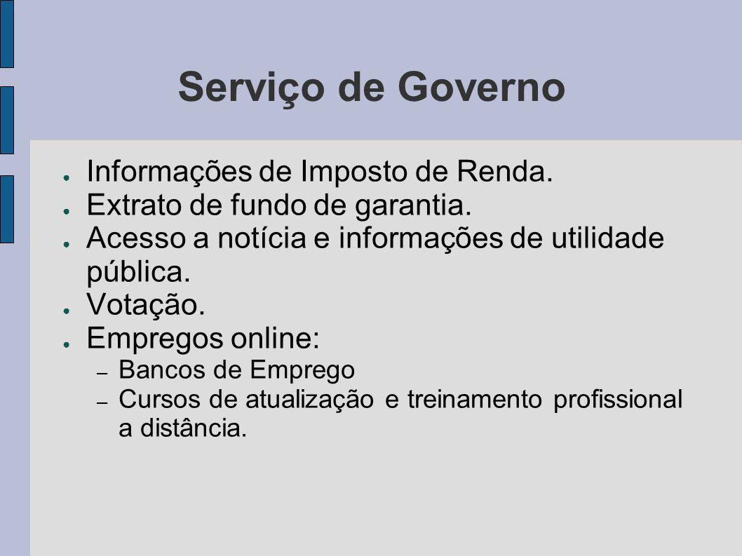 Serviço de Governo Informações de Imposto de Renda. Extrato de fundo de garantia. Acesso a notícia e informações de utilidade pública. Votação. Empreg