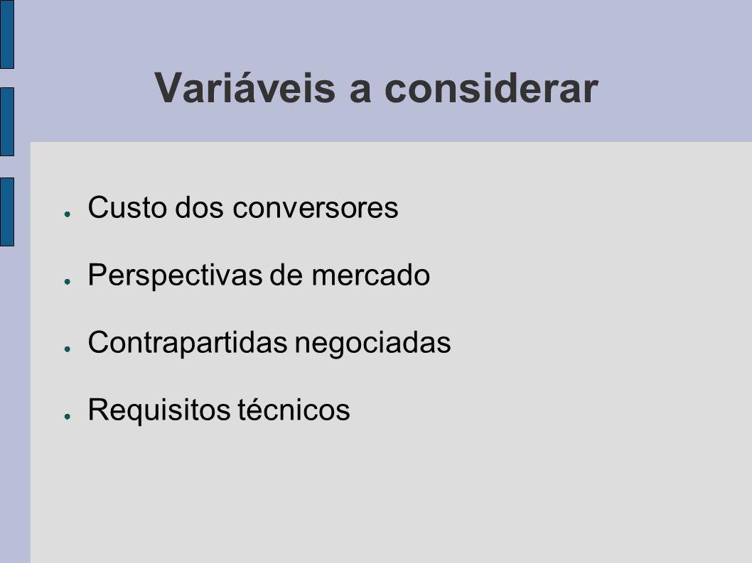 Variáveis a considerar Custo dos conversores Perspectivas de mercado Contrapartidas negociadas Requisitos técnicos