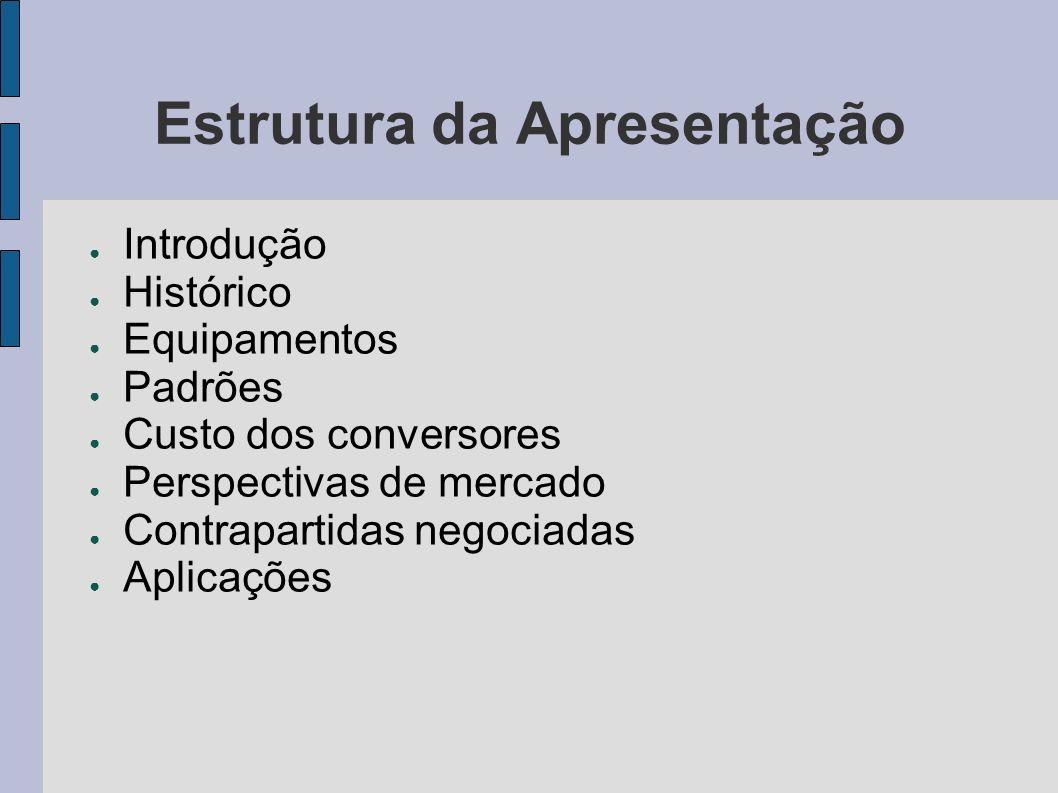 Estrutura da Apresentação Introdução Histórico Equipamentos Padrões Custo dos conversores Perspectivas de mercado Contrapartidas negociadas Aplicações