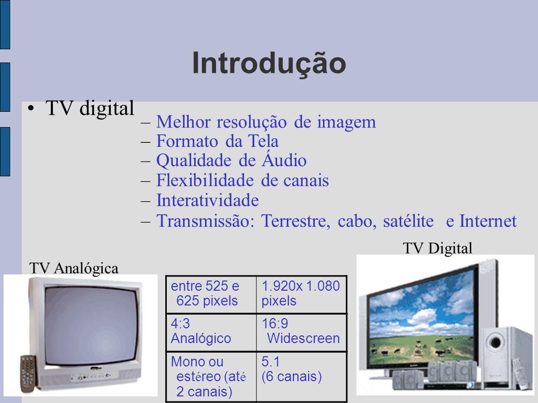 Introdução TV digital entre 525 e 625 pixels 1.920x 1.080 pixels –Melhor resolução de imagem –Formato da Tela –Qualidade de Áudio –Flexibilidade de ca