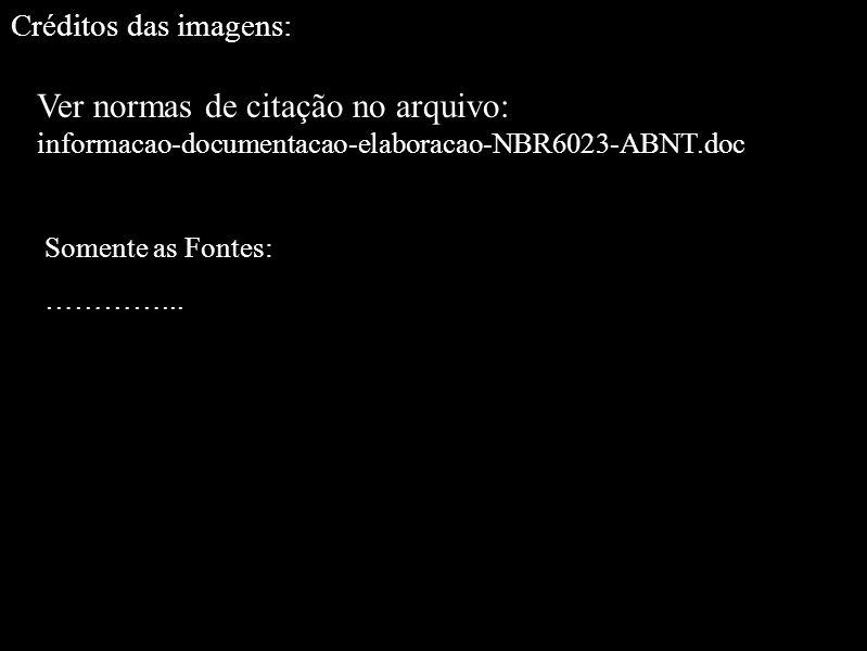 Créditos das imagens: Ver normas de citação no arquivo: informacao-documentacao-elaboracao-NBR6023-ABNT.doc Somente as Fontes: …………...