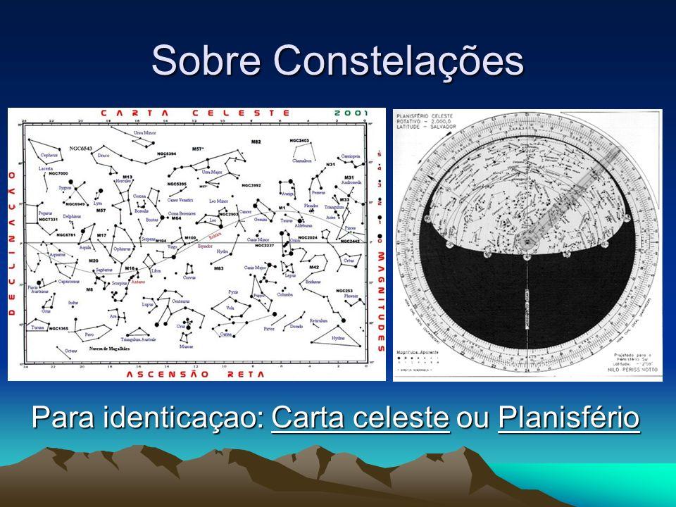 Sobre Constelações Para identicaçao: Carta celeste ou Planisfério