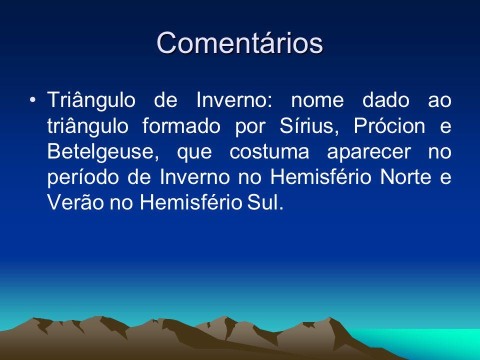 Comentários Triângulo de Inverno: nome dado ao triângulo formado por Sírius, Prócion e Betelgeuse, que costuma aparecer no período de Inverno no Hemis