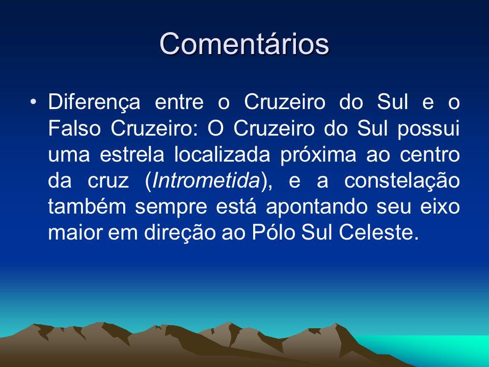 Comentários Diferença entre o Cruzeiro do Sul e o Falso Cruzeiro: O Cruzeiro do Sul possui uma estrela localizada próxima ao centro da cruz (Intrometi