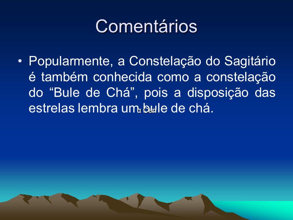 Comentários Popularmente, a Constelação do Sagitário é também conhecida como a constelação do Bule de Chá, pois a disposição das estrelas lembra um bu