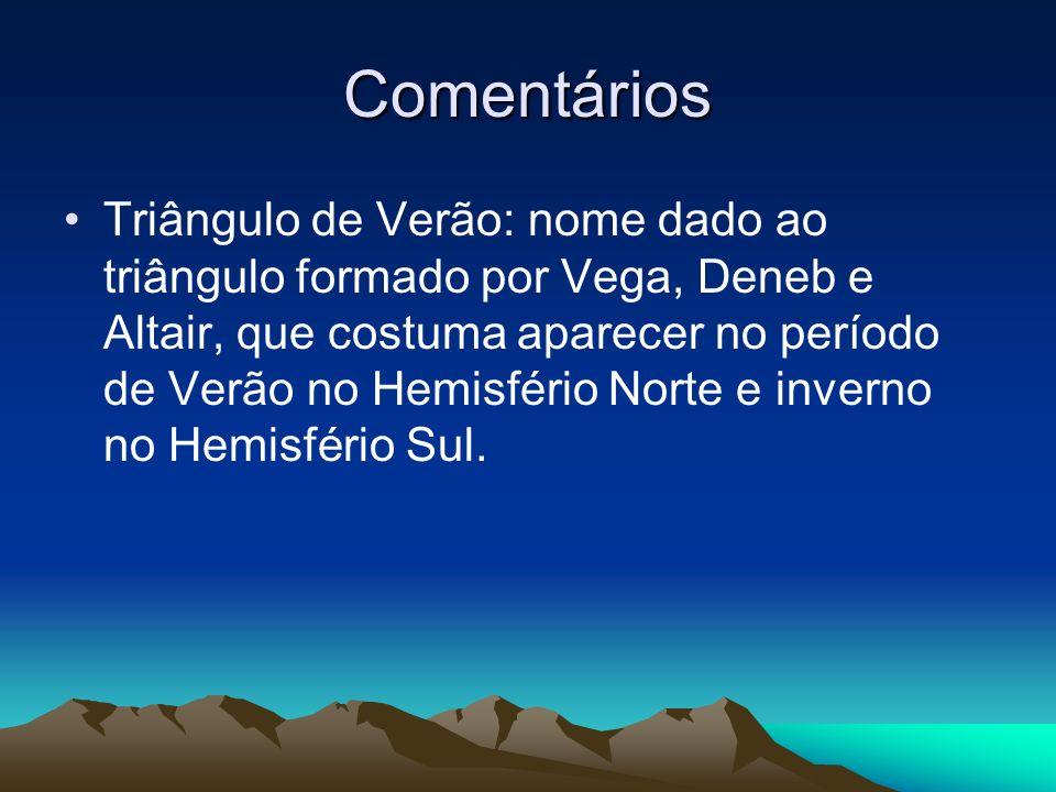 Comentários Triângulo de Verão: nome dado ao triângulo formado por Vega, Deneb e Altair, que costuma aparecer no período de Verão no Hemisfério Norte