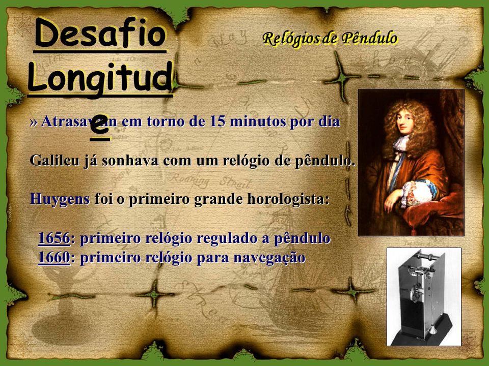 Relógios de Pêndulo » Atrasavam em torno de 15 minutos por dia Galileu já sonhava com um relógio de pêndulo. » Atrasavam em torno de 15 minutos por di