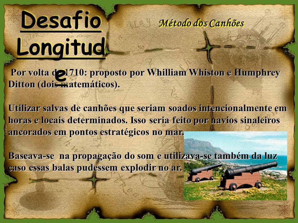 Por volta de 1710: proposto por Whilliam Whiston e Humphrey Ditton (dois matemáticos). Utilizar salvas de canhões que seriam soados intencionalmente e
