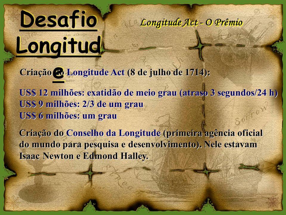 Longitude Act - O Prêmio Criação do Longitude Act (8 de julho de 1714): US$ 12 milhões: exatidão de meio grau (atraso 3 segundos/24 h) US$ 9 milhões: