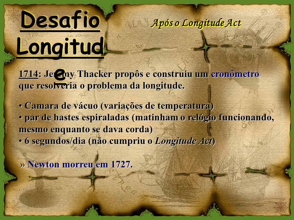 Após o Longitude Act 1714: Jeremy Thacker propôs e construiu um cronômetro que resolveria o problema da longitude. Camara de vácuo (variações de tempe