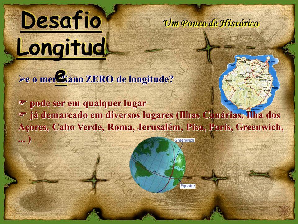 A LONGITUDE NA TERRA: 1 volta = 24 h 1 hora = 15º (1609 Km) Longitude e Tempo 1º = 109,4 Km Desafio Longitud e Desafio Longitud e