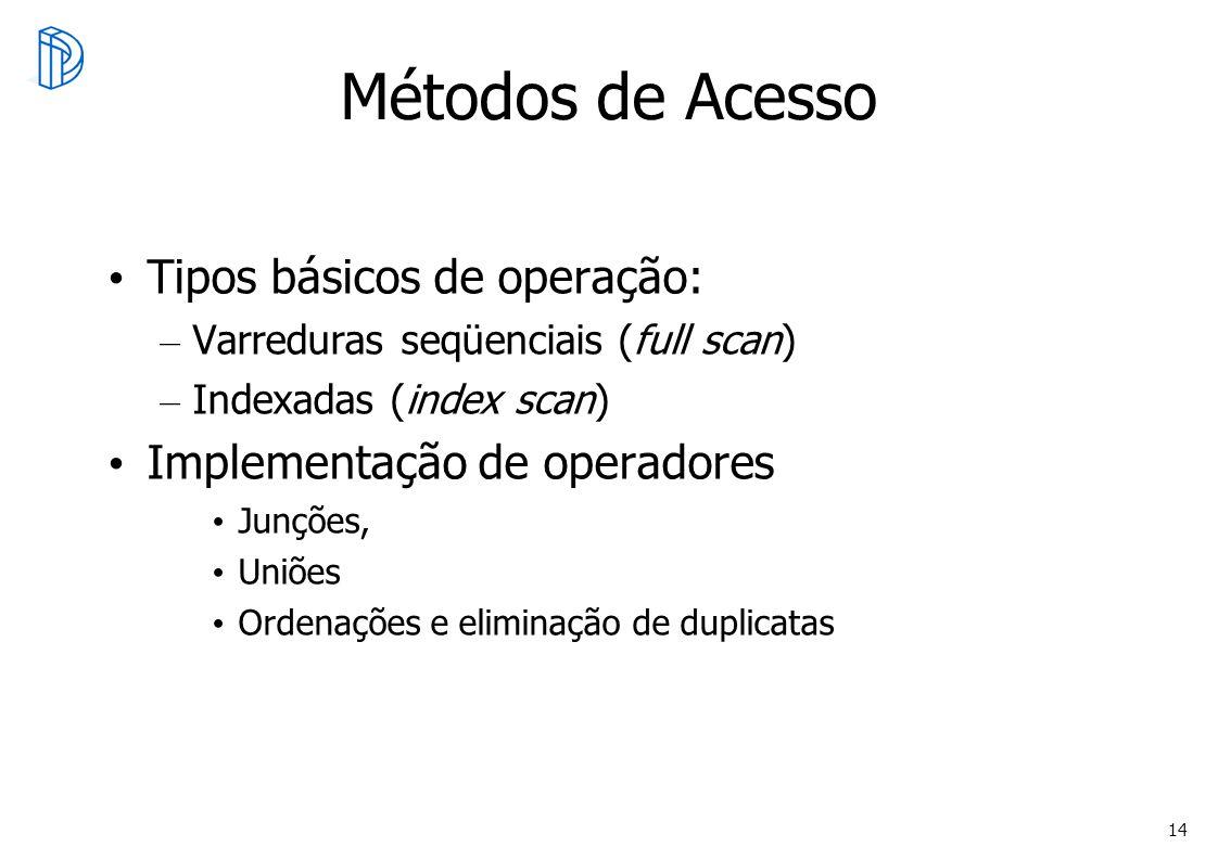 14 Métodos de Acesso Tipos básicos de operação: – Varreduras seqüenciais (full scan) – Indexadas (index scan) Implementação de operadores Junções, Uni
