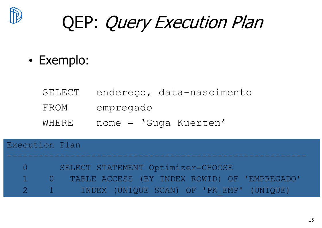 15 QEP: Query Execution Plan Exemplo: SELECT endereço, data-nascimento FROM empregado WHEREnome = Guga Kuerten Execution Plan ------------------------