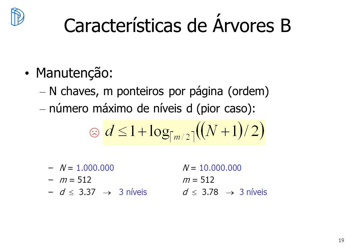 19 Manutenção: – N chaves, m ponteiros por página (ordem) – número máximo de níveis d (pior caso): Características de Árvores B –N = 1.000.000N = 10.0