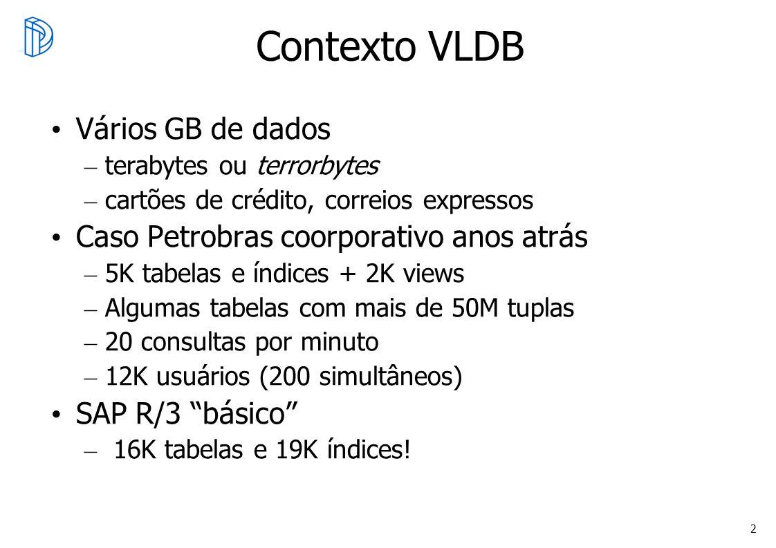 2 Contexto VLDB Vários GB de dados – terabytes ou terrorbytes – cartões de crédito, correios expressos Caso Petrobras coorporativo anos atrás – 5K tab