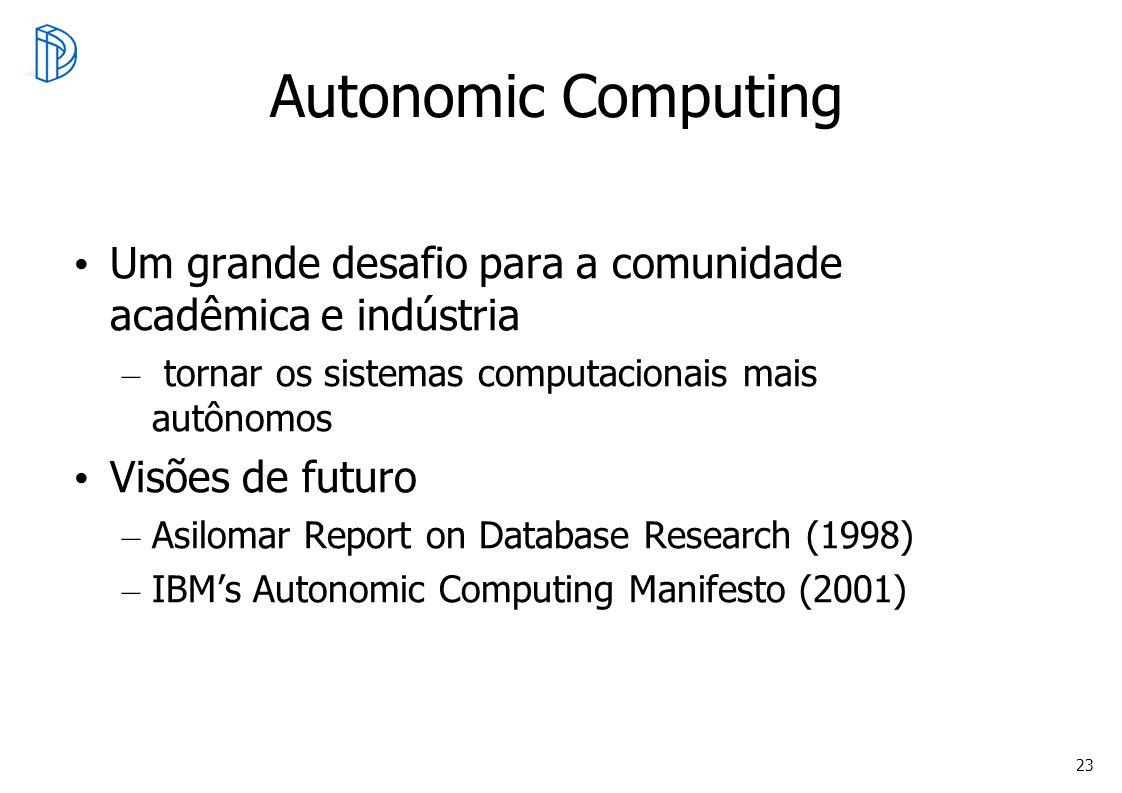 23 Autonomic Computing Um grande desafio para a comunidade acadêmica e indústria – tornar os sistemas computacionais mais autônomos Visões de futuro –