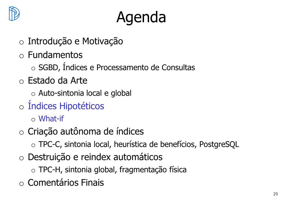 29 Agenda o Introdução e Motivação o Fundamentos o SGBD, Índices e Processamento de Consultas o Estado da Arte o Auto-sintonia local e global o Índice