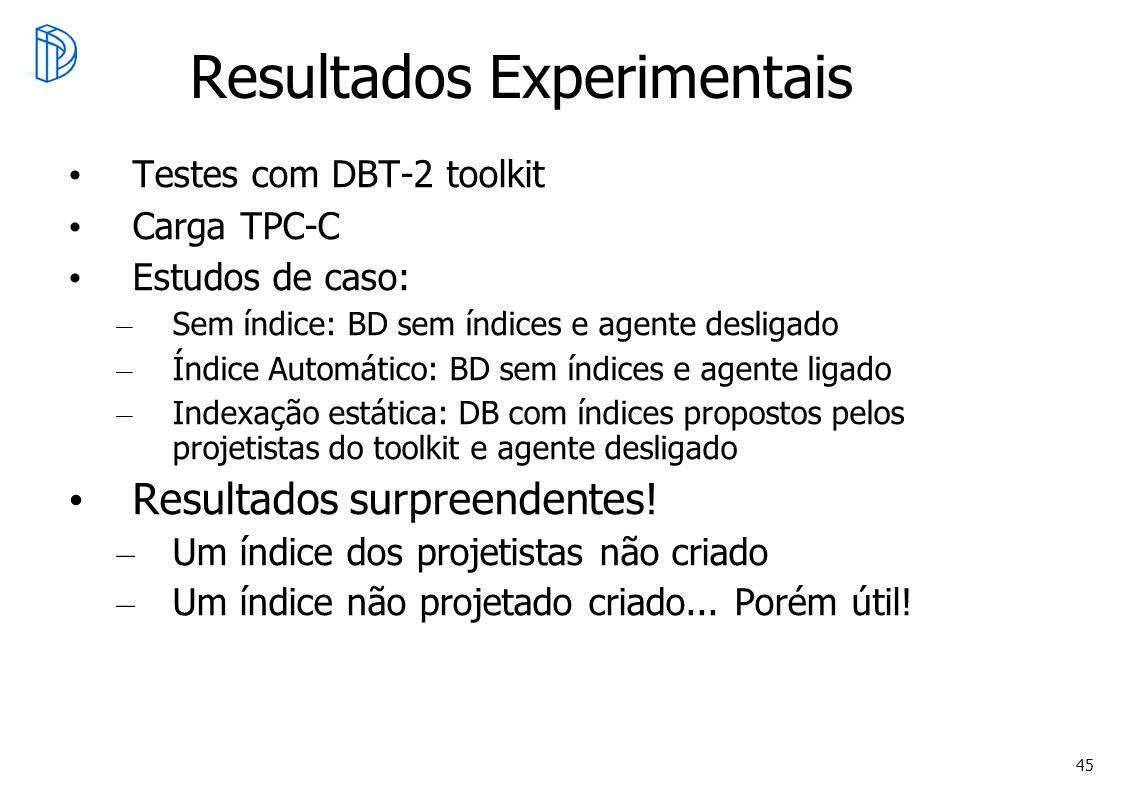 45 Resultados Experimentais Testes com DBT-2 toolkit Carga TPC-C Estudos de caso: – Sem índice: BD sem índices e agente desligado – Índice Automático: