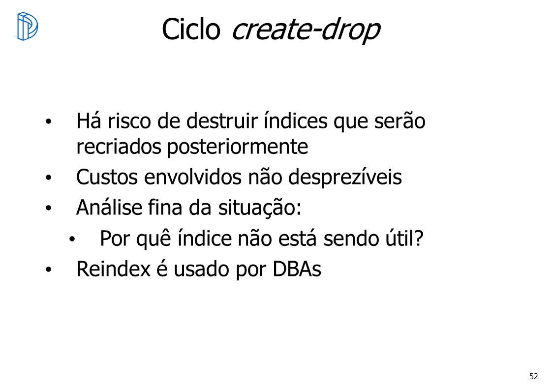 52 Ciclo create-drop Há risco de destruir índices que serão recriados posteriormente Custos envolvidos não desprezíveis Análise fina da situação: Por