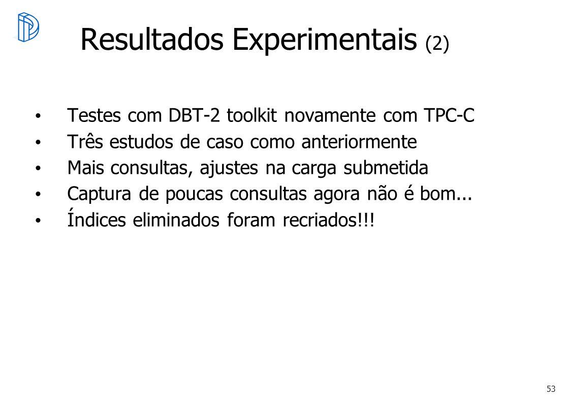 53 Resultados Experimentais (2) Testes com DBT-2 toolkit novamente com TPC-C Três estudos de caso como anteriormente Mais consultas, ajustes na carga