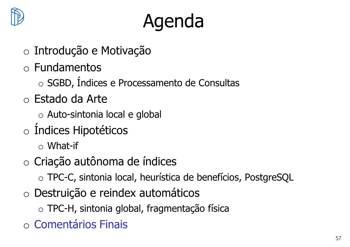 57 Agenda o Introdução e Motivação o Fundamentos o SGBD, Índices e Processamento de Consultas o Estado da Arte o Auto-sintonia local e global o Índice