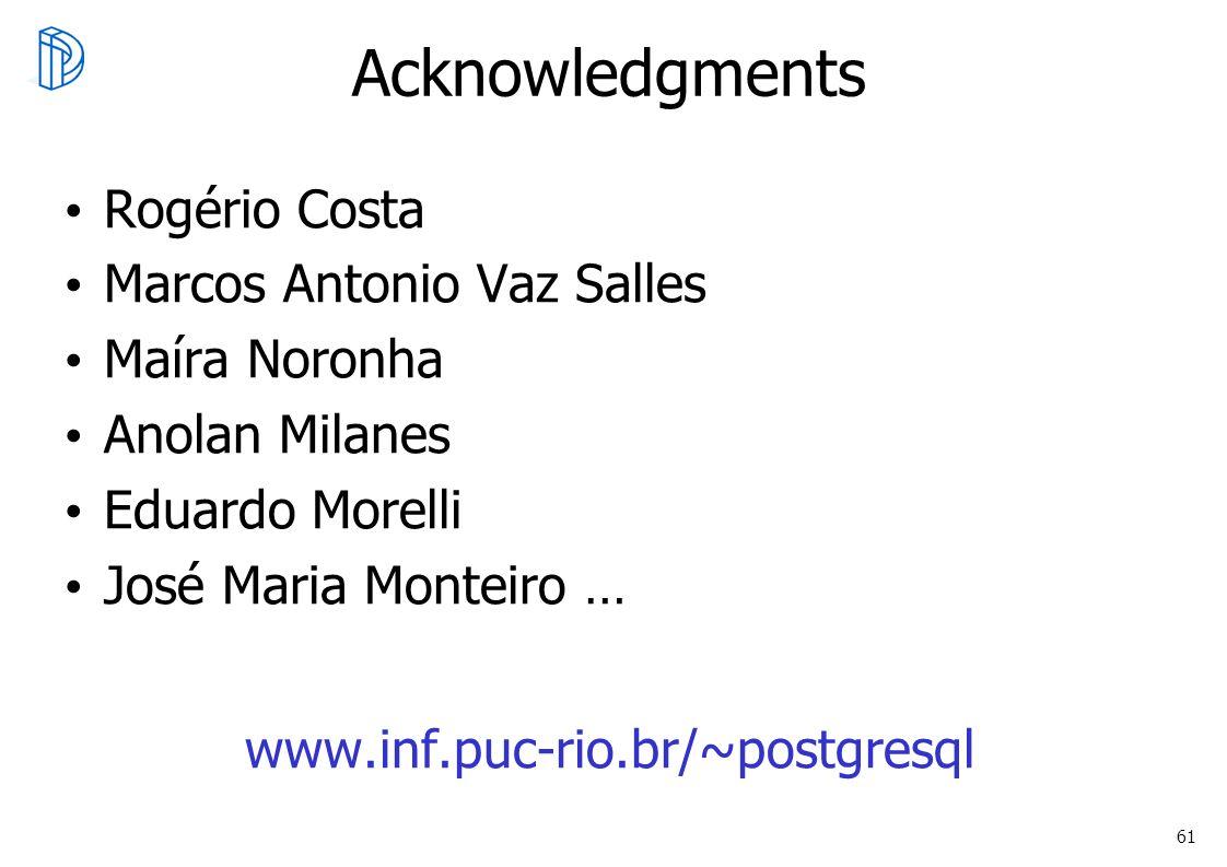 61 Acknowledgments Rogério Costa Marcos Antonio Vaz Salles Maíra Noronha Anolan Milanes Eduardo Morelli José Maria Monteiro … www.inf.puc-rio.br/~post