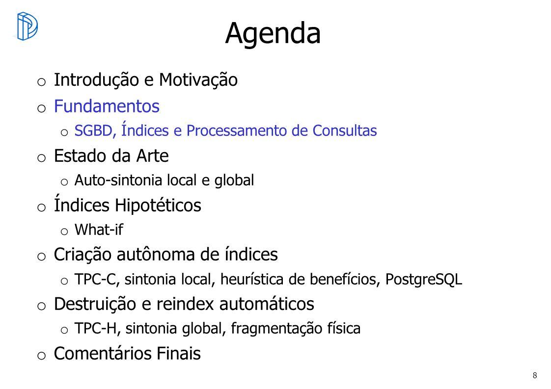8 Agenda o Introdução e Motivação o Fundamentos o SGBD, Índices e Processamento de Consultas o Estado da Arte o Auto-sintonia local e global o Índices