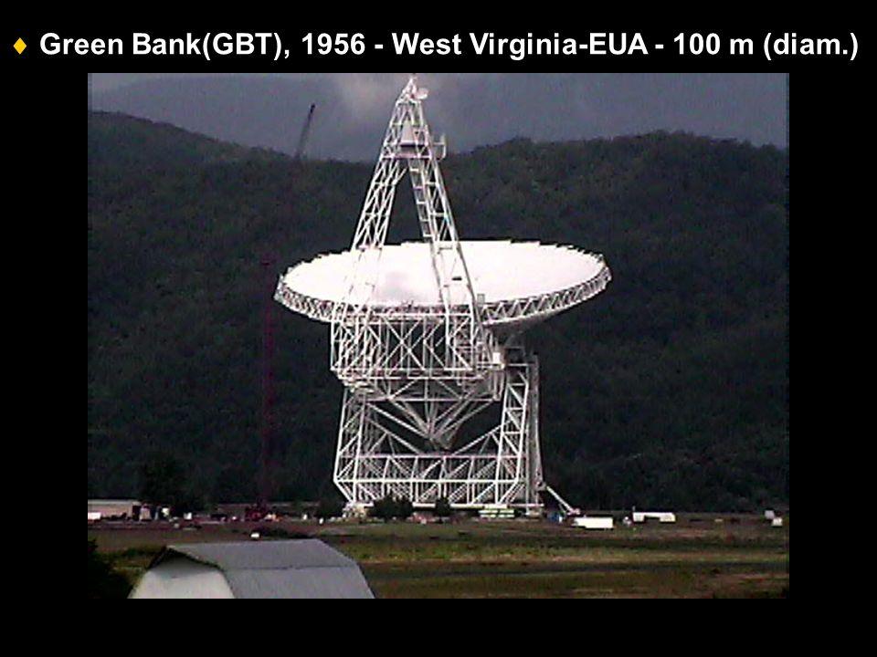 Green Bank(GBT), 1956 - West Virginia-EUA - 100 m (diam.)