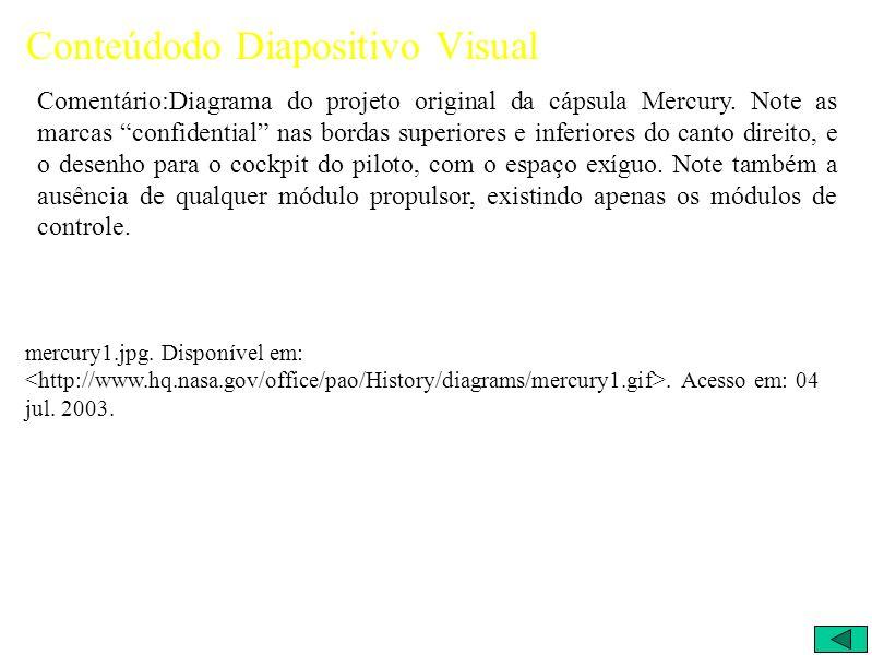 Conteúdodo Diapositivo Visual Comentário:Diagrama do projeto original da cápsula Mercury.