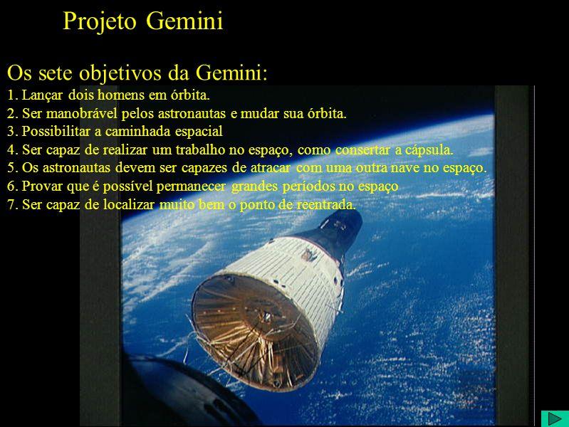 Projeto Gemini Os sete objetivos da Gemini: 1. Lançar dois homens em órbita.