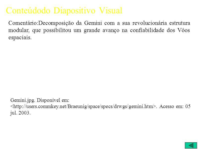 Conteúdodo Diapositivo Visual Comentário:Decomposição da Gemini com a sua revolucionária estrutura modular, que possibilitou um grande avanço na confiabilidade dos Vôos espaciais.