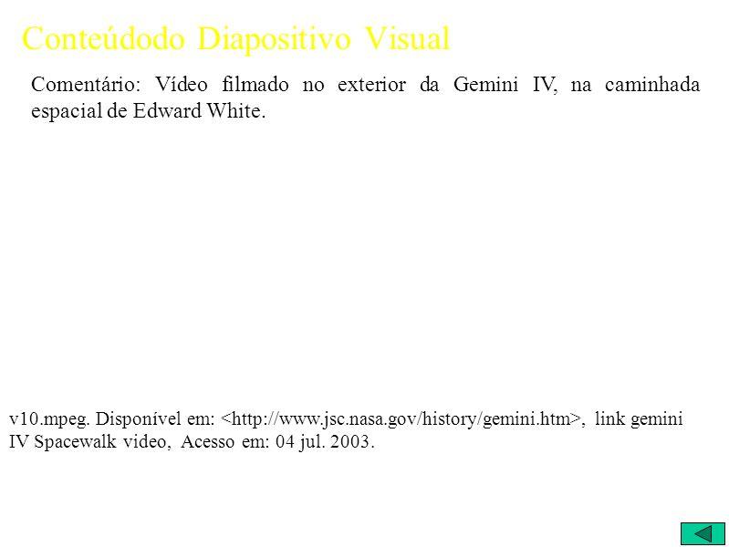 Conteúdodo Diapositivo Visual Comentário: Vídeo filmado no exterior da Gemini IV, na caminhada espacial de Edward White.