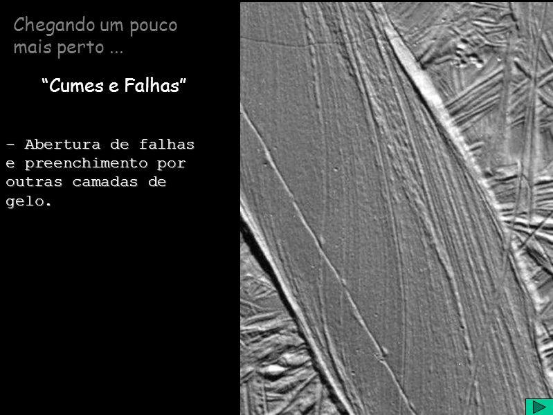 Chegando um pouco mais perto... Cumes e Falhas - Abertura de falhas e preenchimento por outras camadas de gelo.