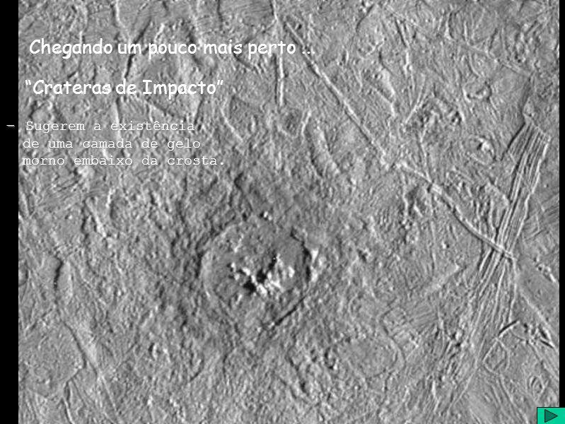 Chegando um pouco mais perto... Crateras de Impacto - Sugerem a existência de uma camada de gelo de uma camada de gelo morno embaixo da crosta. morno