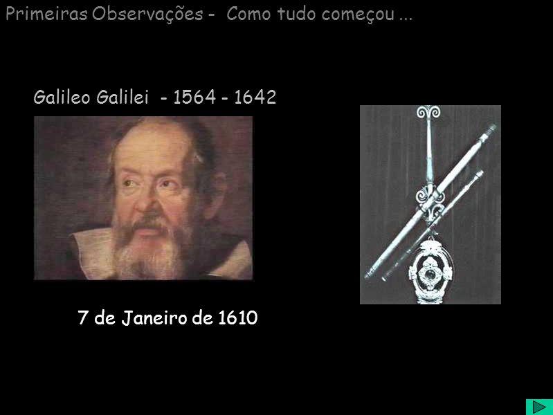 Primeiras Observações - Como tudo começou... 7 de Janeiro de 1610 Galileo Galilei - 1564 - 1642
