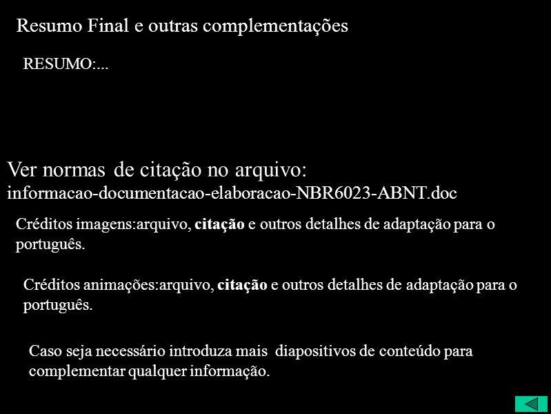 Resumo Final e outras complementações RESUMO:... Créditos imagens:arquivo, citação e outros detalhes de adaptação para o português. Créditos animações