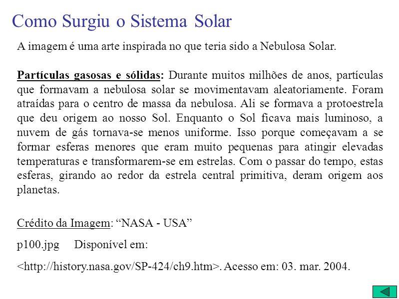 Como Surgiu o Sistema Solar... Um dos mistérios mais intrigantes para o homem durante a história é a formação do Sistema Solar… A Nebulosa Solar (artí