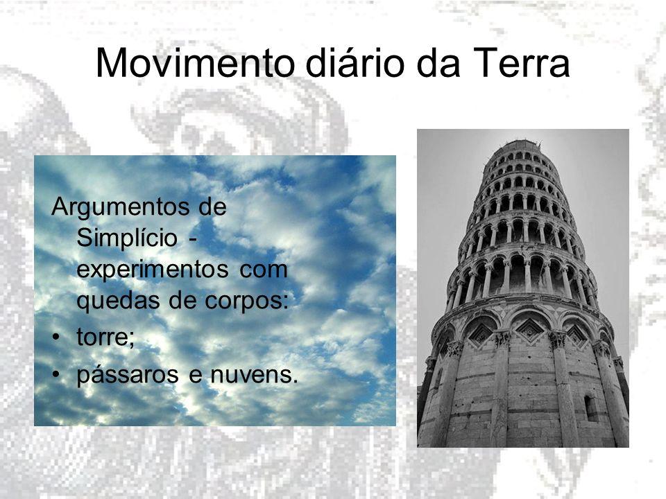 Movimento diário da Terra Argumentos de Simplício - experimentos com quedas de corpos: torre; pássaros e nuvens.
