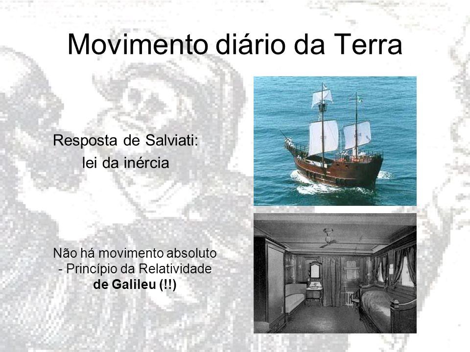 Movimento diário da Terra Resposta de Salviati: lei da inércia Não há movimento absoluto - Princípio da Relatividade de Galileu (!!)