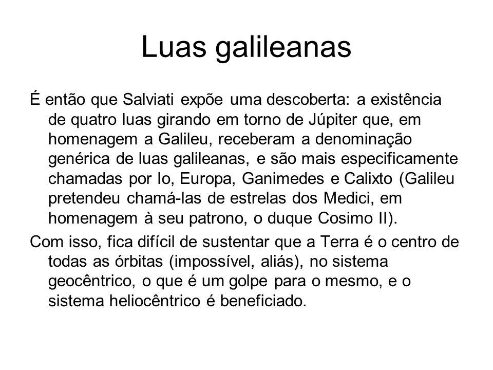 Luas galileanas É então que Salviati expõe uma descoberta: a existência de quatro luas girando em torno de Júpiter que, em homenagem a Galileu, recebe