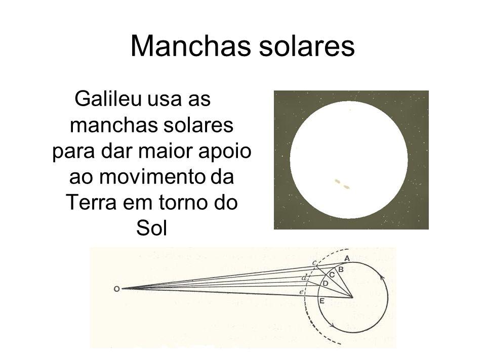 Manchas solares Galileu usa as manchas solares para dar maior apoio ao movimento da Terra em torno do Sol